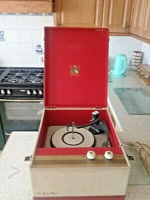 1960 Hmv Portable Record Player Working In Nice Condition ACOS GP91 Cartridge • 70£