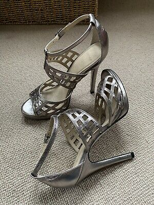 Top Shop Ladies Silver Pewter Stilleto Shoes  Size 4/37 • 2£