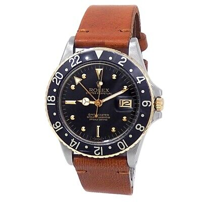 $ CDN11252.34 • Buy Rolex GMT-Master 18k Yellow Gold Steel Leather Automatic Black Men's Watch 16753