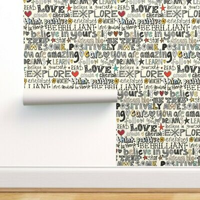 Wallpaper Roll Words Of Affirmation Illustration Typography Words 24in X 27ft • 5.73£