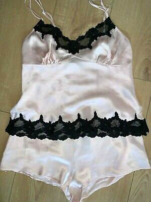 La Senza Pink Pure Silk Camisole And Shorts Lingerie Set Size 10 • 5£