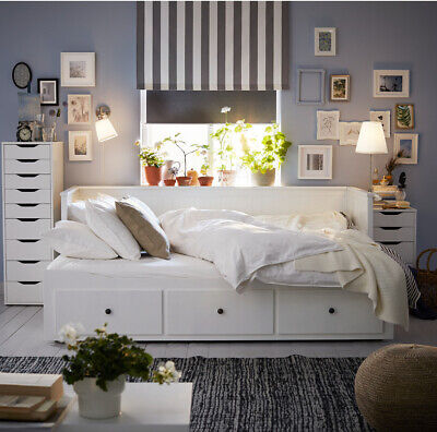 Ikea Hemnes White Day Bed Daybed With 3 Drawers With 2 Mattress • 50£