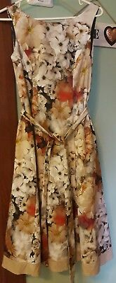 $ CDN46.73 • Buy ARIELLA Dress London-Size UK10- Floral-Beige-Special Occasion-Holiday WORLDWIDE