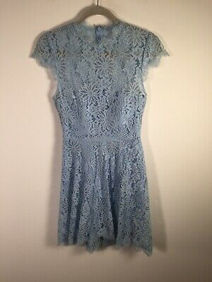 AU24.95 • Buy Forever New Womens Light Blue Floral Lace Fit Flare Dress Size 8 Short Sleeve