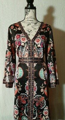 MIIT Womens Size 14 Black And Pink Floral Knee-length Dress • 5.38£
