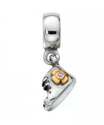 AU20 • Buy Authentic Pandora 790403PCZ 2 Tone Baby Girl Boot Sterling Silver 14K Charm