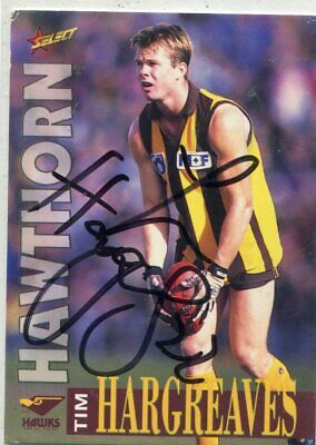 AU5 • Buy AFL Select 1996 #187 Hawthorn Tim Hargreaves Autographed Card