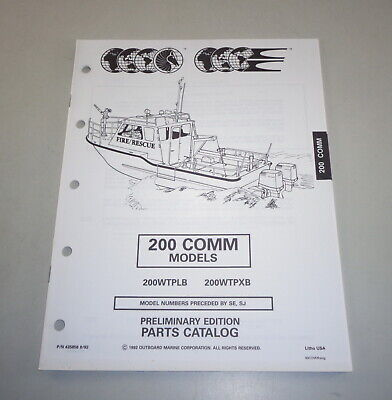 AU31.05 • Buy Parts Catalog Omc Evinrude Johnson Outboard Motor 200 Comm Models Stand 08/1992