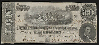 USA United States Of America  10 Dollars The Confederate States Of America 1864 • 16.37£