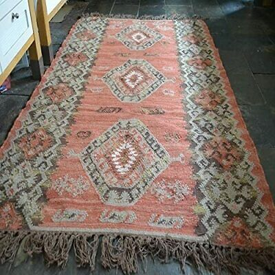 £92.99 • Buy 100% Wool Kilim Rust With Beige, 120x180cm Quality Hand Made Reversible Rug