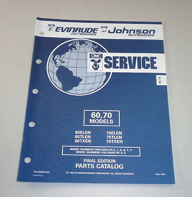 AU31.05 • Buy Parts Catalog Omc Evinrude Johnson Outboard Motor 60/70 Models Stand 05/1992