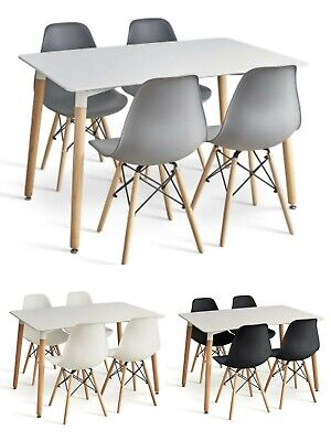 £139.99 • Buy Dining Table And Chairs 4 6 Set Wooden Legs Retro Dining Room Chair Grey Kitchen