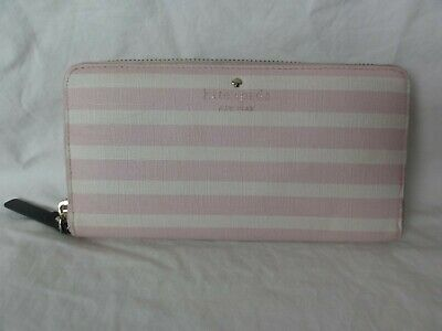 $ CDN22.68 • Buy Kate Spade Pink/White Striped Zip Around Wallet
