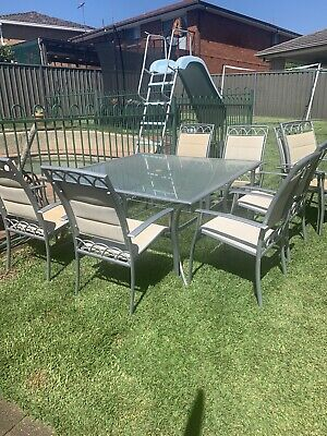 AU150 • Buy Outdoor Dining Setting For 8. Very Good Used Condition. Square Design.