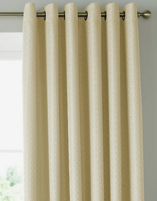 One Pair Of Eyelet Curtains Ready Made Ring Top. Solitaire Cream 66 X90  • 29.99£