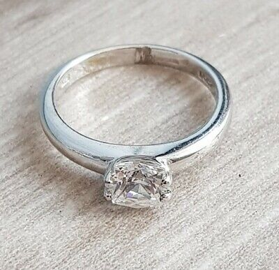 $ CDN20.52 • Buy QVC 925 Silver Hallmarked CZ Solitaire Ring Uk Size M 1/2