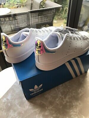 AU40.66 • Buy Adidas Stan Smith J White Leather Trainers Size 4 New In Box