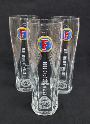 Three NEW Fosters Lager / Beer Pint Glasses - Home Bar - Pub - • 8£