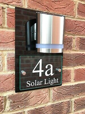 £62.95 • Buy Modern House Sign Plaque Door Number Street Glass Acrylic House Name Solar