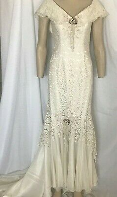 AU284.16 • Buy Victorian Wedding Dress Ivory Lace With Self Train, Off Shoulder, Size 16