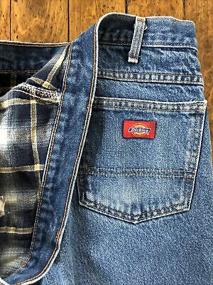 $7 • Buy Dickies Relaxed Fit - Flannel Lined Mens 40x30 Workwear Blue Jeans - Vintage
