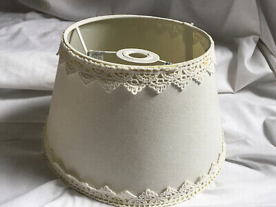 VINTAGE STYLE Tapered Drum Shape Cream Lampshade With Crochet Lace Trim 11  Wide • 13.79£