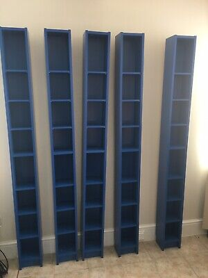 5 Blue IKEA Cd/ Dvd Wooden Storage Racks With Detachable Shelves. Used • 35£