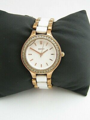 Dkny Women's Chambers Watch Ny2496 Gold White Ceramic Crystals Genuine • 14.99£