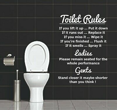 Wall Art Toilet Rules Quote Vinyl Wall Stickers Decal Removable Home Decor • 4.99£