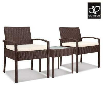 AU192.14 • Buy Gardeon 3 Piece Wicker Outdoor Lounge Setting Patio Furniture Rattan Set Cushion