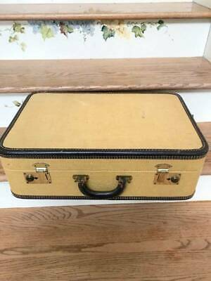 "View Details Vintage Tweed Suitcase 21"" Luggage Yellow 1940s 1950s • 50.00$"
