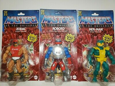 $70 • Buy New Masters Of The Universe Origins ROBOTO, Zodiac, Mer-Man 2020 MOTU Set Of 3!