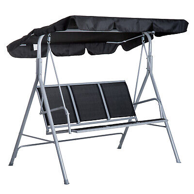 £88.99 • Buy Outsunny Metal Swing Chair Garden Hammock 3 Seater Patio Bench Canopy Lounger