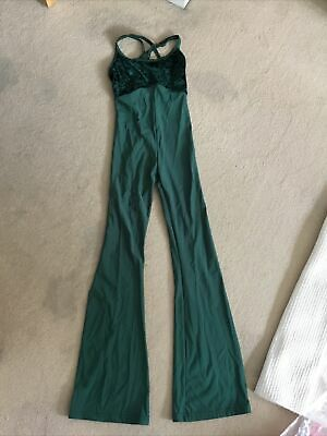 Bottle Green Tap Modern Dance Catsuit ( Child Size 3/ Extra Small Adult) • 4.50£
