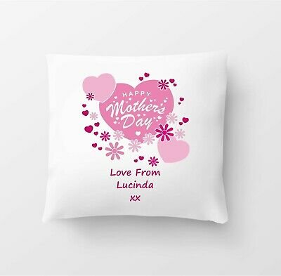 Personalised Mothers Day Gift 40cm Cushion Present Mum Hearts Love From Any Name • 7.99£