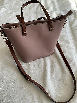 PINK Shopper Bag, Tan Handles & Shoulder Strap. Leather Look. New Without Tags. • 10£