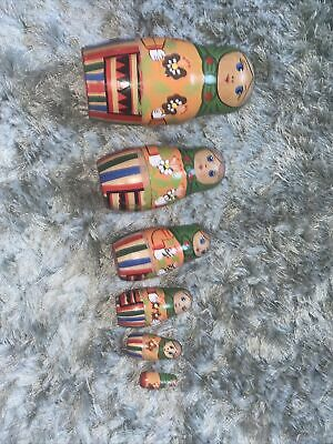 Set Of 6 Hand Painted Wooden Russian Dolls Nesting • 5.50£
