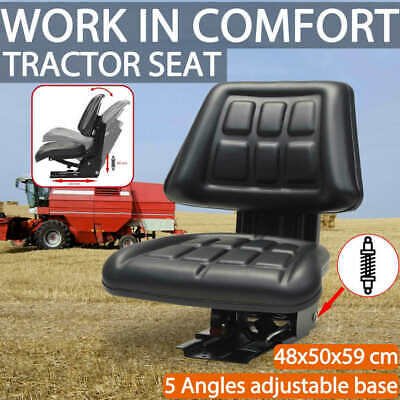 AU163.29 • Buy VidaXL Tractor Seat With Suspension Black Adjustable PVC Replacement Chair