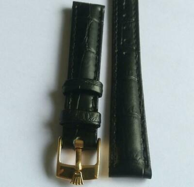 $ CDN65.64 • Buy Rolex Ladies Band 13mm Leather Black With Gold Plated Watch Bracelet Buckle