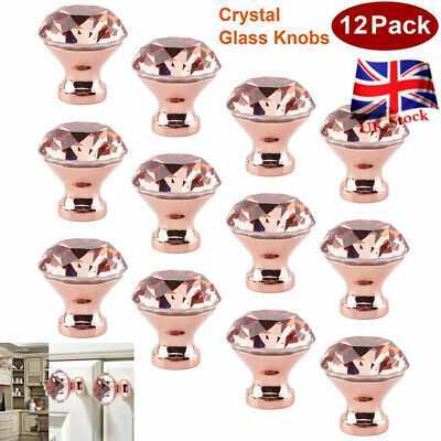 12Pcs Crystal Glass Diamond Door Knobs Cupboard Drawer Furniture Handle Cabinet • 15.99£