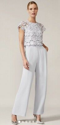 Phase Eight  Brandie Lace Bodice Jumpsuit, Baby Blue, Uk 16, Lot M29 • 20£
