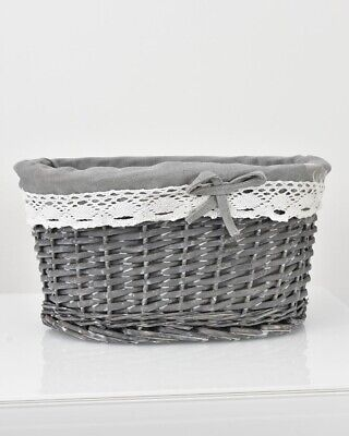 Wicker Willow Woven Storage Basket Hamper Lace Trim Lining Grey Small • 4.99£