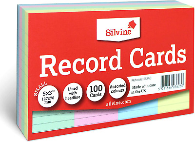 £2.48 • Buy Revision Flash Index Silvine Record Cards Multi Coloured Fast And Free Postage