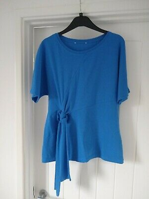 H! Henry Holland Size 12 Women's Blue Top T-Shirt Tie Front • 3£