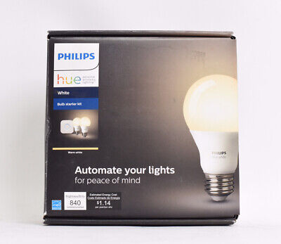AU37.57 • Buy Philips Hue White Starter Kit 2 Pack Round Bulbs 840lm