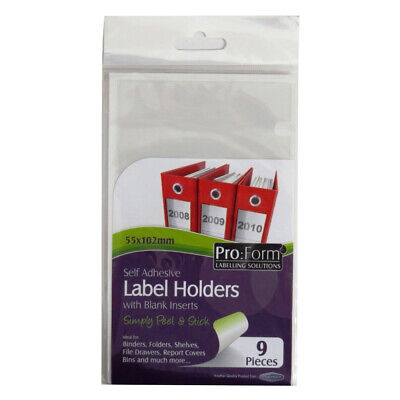 £4.25 • Buy Pro Form 70916 Self Adhesive Label Holders With Inserts - Size 55mm X 102mm