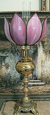 $ CDN291.79 • Buy Antique Brass GWTW Banquet Lamp Cranberry Slag Stained Glass Globe Victorian