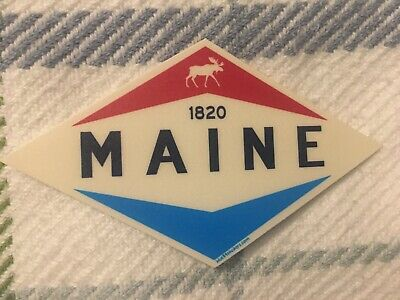 """$3.95 • Buy New Sticker Maine With Moose Icon Gas Station Sign Vibe Nice! 4 1/2"""" X 3"""""""