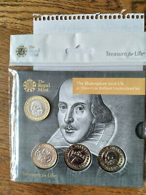 Bu 2016 William Shakespeare Bunc £2 Pound Coin Three Coin Set Rm Pack Sealed • 85£