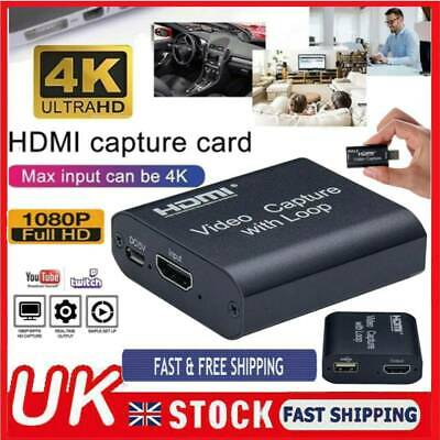 4K Video Capture Card HDMI-compatible To USB2.0 Game Recording Box With Loop Out • 15.29£